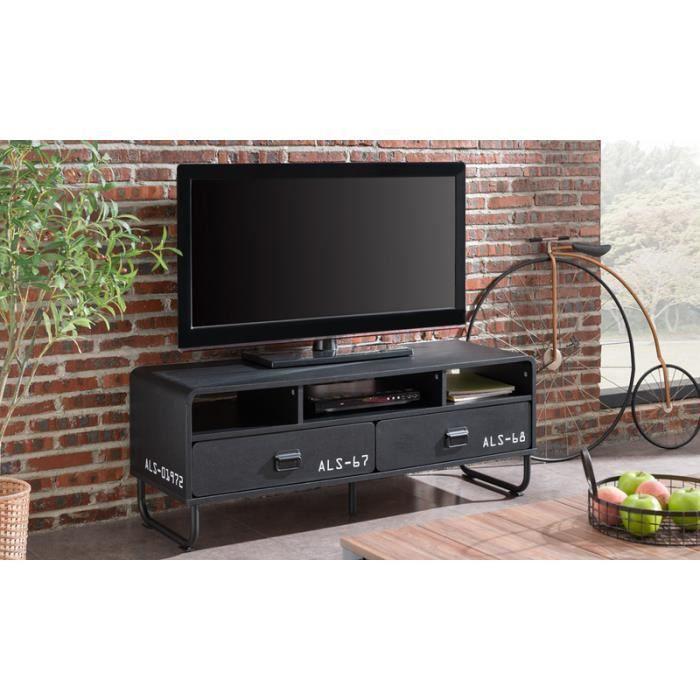 Meuble TV / Meuble salon - BROCK - 120 cm - noir mat - pieds ...
