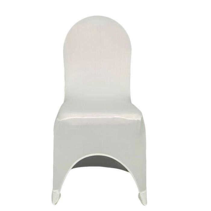 Housse Blanc 100 Chaise Décoration Elastique Devant Arqué De Pcs EDIW9YH2