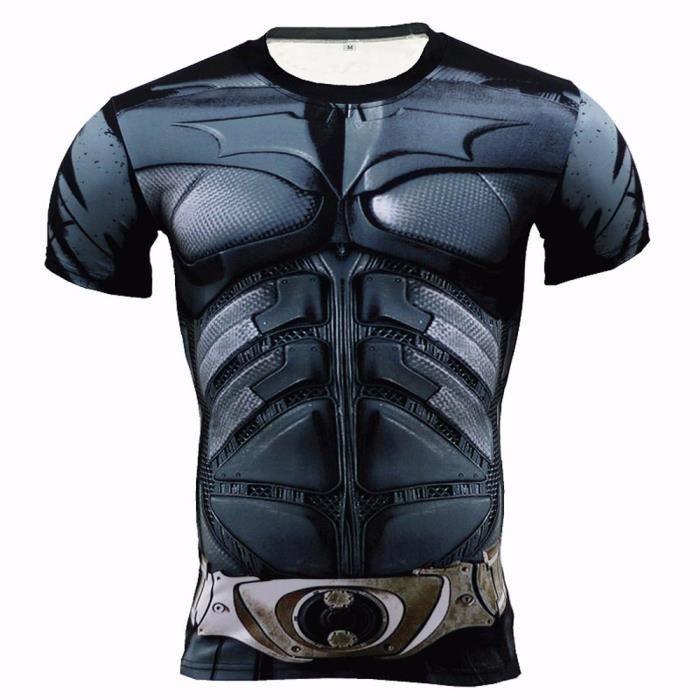 BatMAN Spiderman Fitness Compression de de Chemise Homme Superman  Culturisme manches longues manche courte T-shirt 3D 9ae9de1917f
