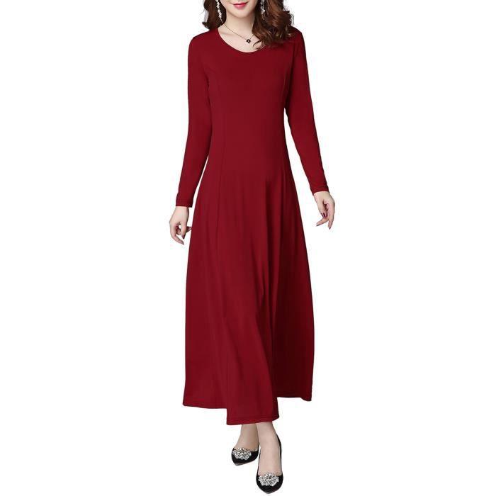 maxi femmes robe longue à manches longues o cou solide mince en forme de robe de aline