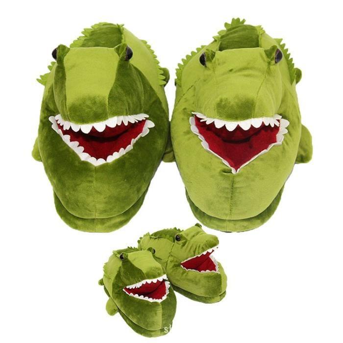 Mode drôle animal en peluche crocodile Chaussons d'hiver Chaussures Indoor Peluche 28.5cm,vert,36