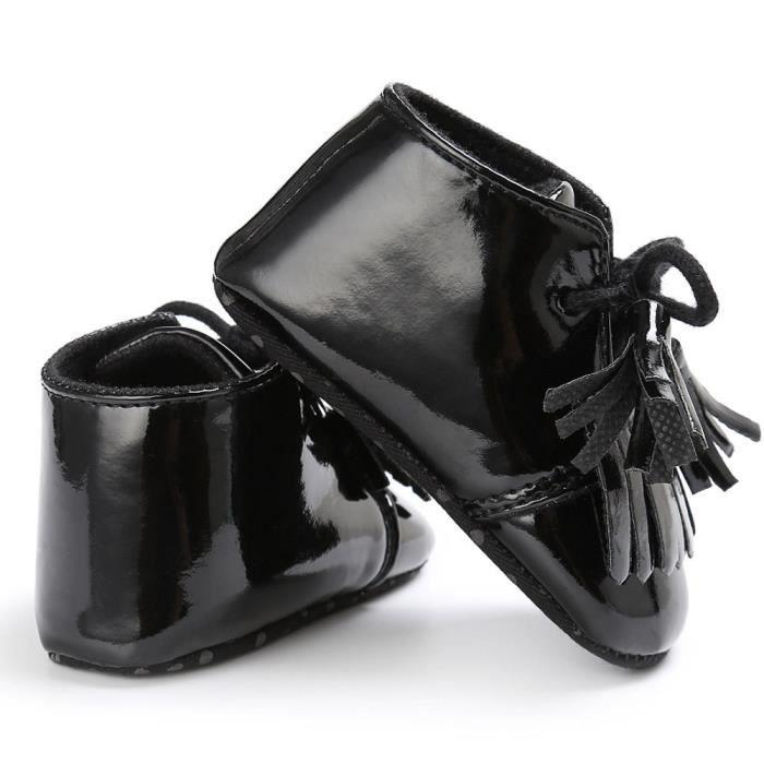 8a8a8f4f59aaf en à BOTTE Crib cuir Tassel Garçons né Filles Prewalker chaussures Bébé  souple NoirHM nouveau semelle ...
