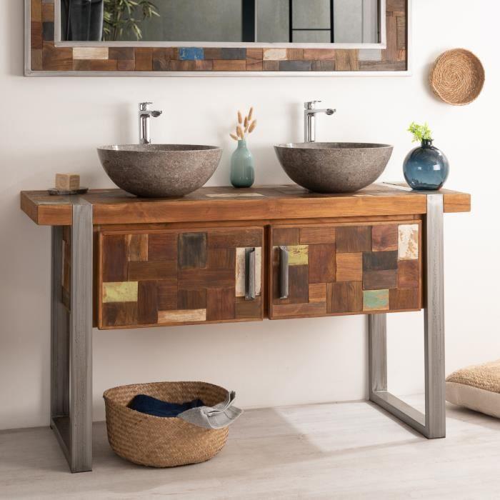 meuble salle de bain bois et acier