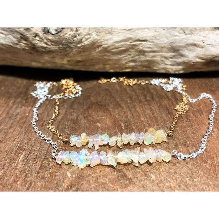 Womens Raw Opal Bar Necklace October Birthstone In 14k Gold Fill 16-18 UFQLW