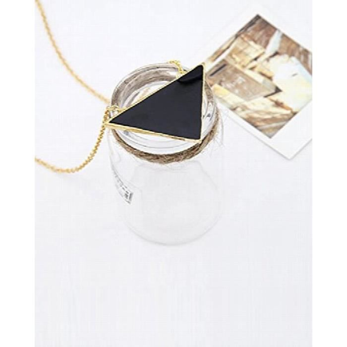 Womens Valentine Gifts Special ?? Black Enamelled Triangle Necklace For By Crazeeia VDIX9
