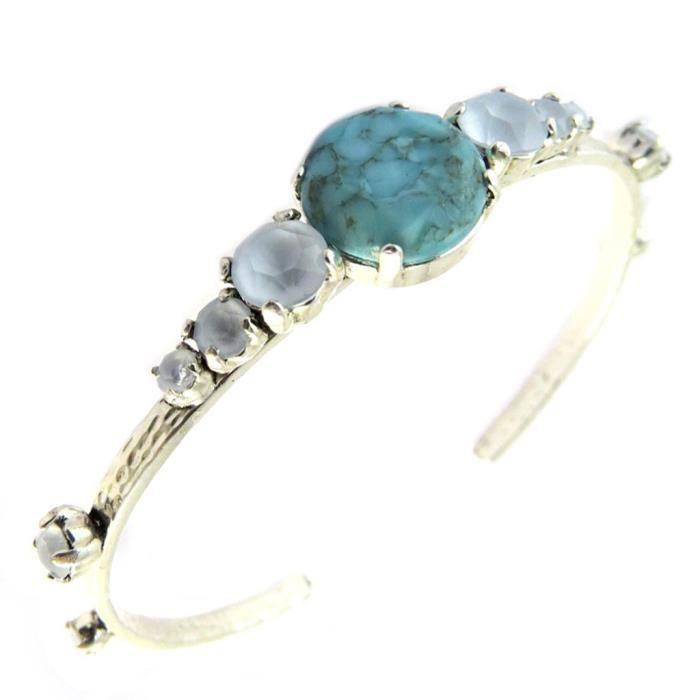 Bracelet artisanal Constantinople turquoise argenté [P1641]