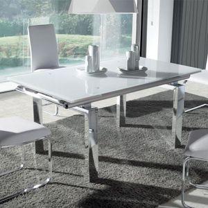 TABLE À MANGER SEULE Table à manger en verre blanc et métal chromé LUDI