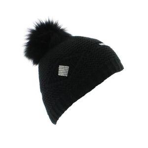 cd7e624a6581 BONNET - CAGOULE Ottawa - Bonnet laine pompon renard - Noir - votre