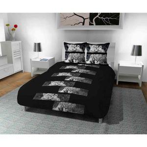 parure de lit en polyester microfibre achat vente. Black Bedroom Furniture Sets. Home Design Ideas