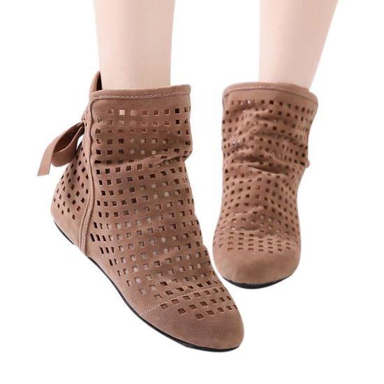 Femmes Bottes plates Bas cachée Wedges Bottines Cutout Chaussures Casual Cute bottillons qinhig5581 Marron Marron - Achat / Vente botte