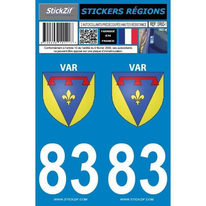 STICKZIF 2 Autocollants Région Département 83 Version 2 SR83-1