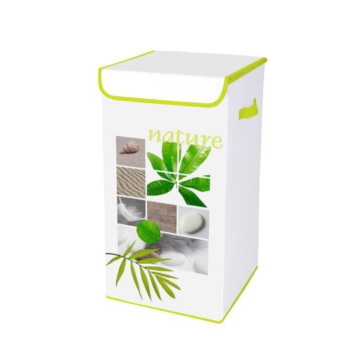 HOMEA Coffre à linge avec couvercle Végétal 30x30x60 cm blanc et vert