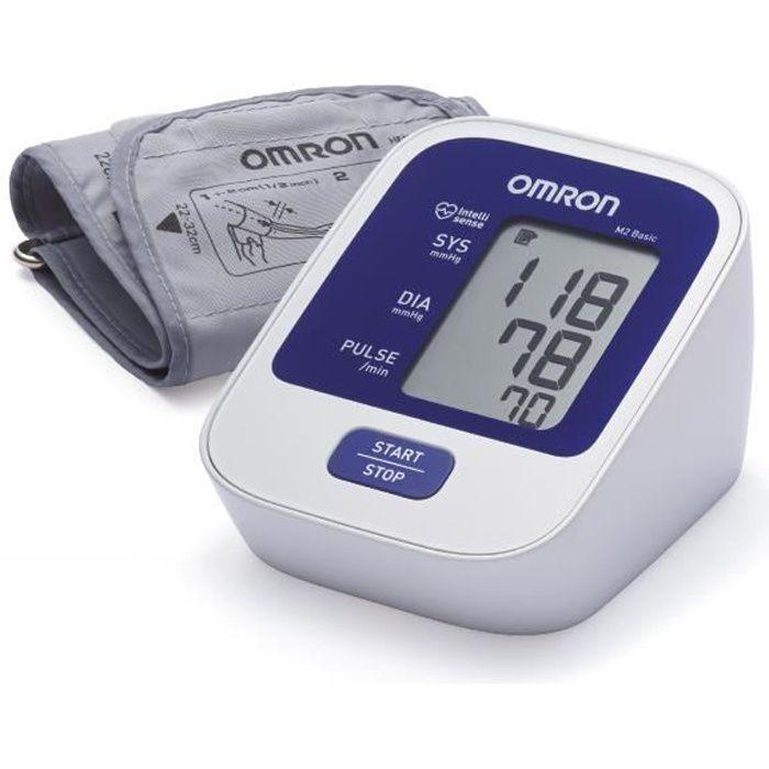 OMRON M2 Basic Tensiomètre Bras Électronique, détection de pulsations cardiaques irrégulières, technologie IntelliSense