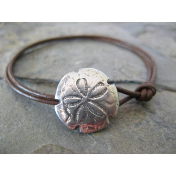 Bracelet en cuir pour femmes et boutons Sand Dollar Fermoir Boho Artisan Bijoux ZJJEC