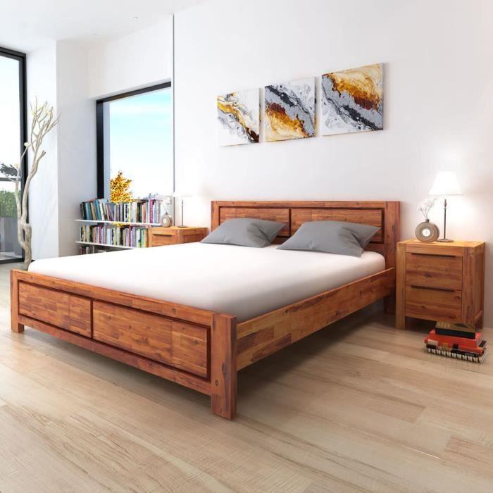 lit 180x200 bois massif achat vente pas cher. Black Bedroom Furniture Sets. Home Design Ideas