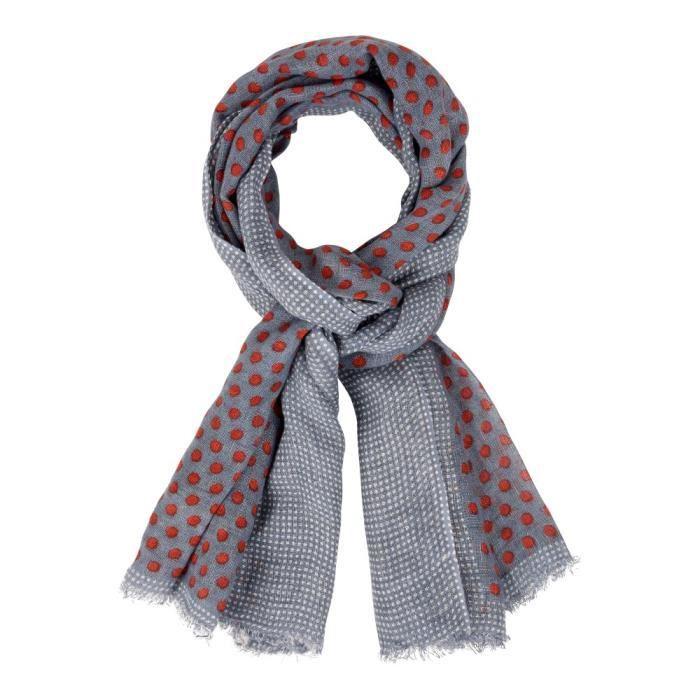 Les Poulettes Bijoux - Echarpe 100% Lin Bleu Et Pois Rouge - Bordure  Plumetis Blancs 326c65dd9ed