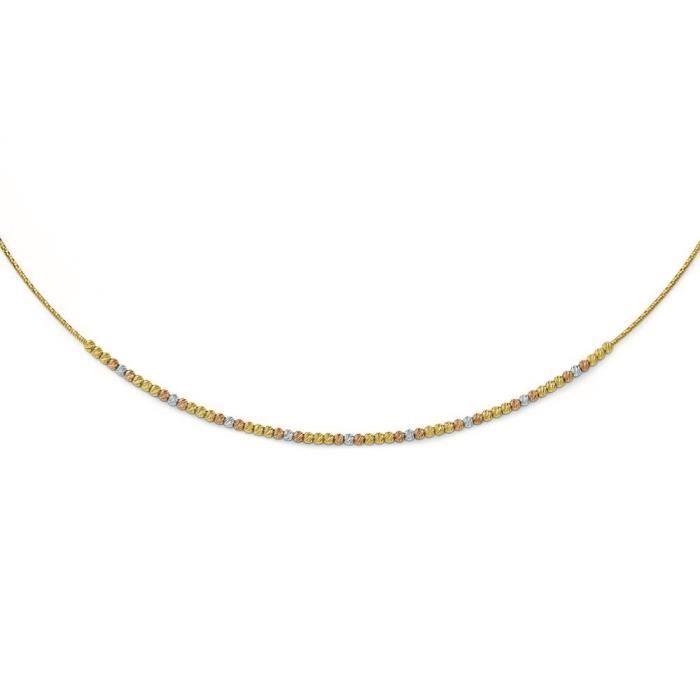 Tri-color poli 14 carats Diamant Coupe Ext. Collier avec 2 17
