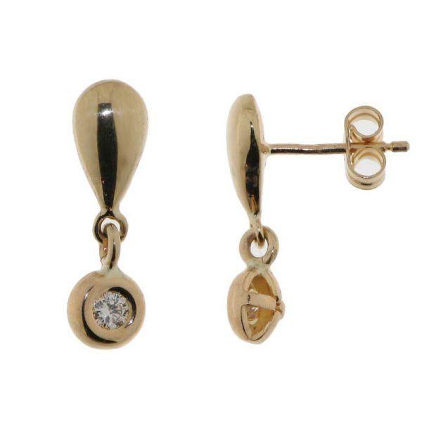 Boucles doreilles or jaune Diamant