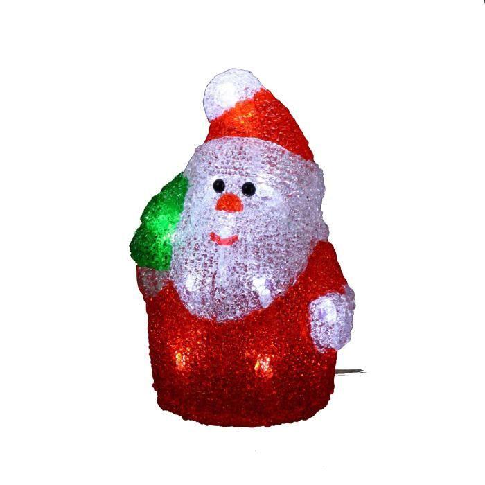 Personnage de Noël Père Noël lumineux rouge   blanc en acrylique ... 98162ec46e5e