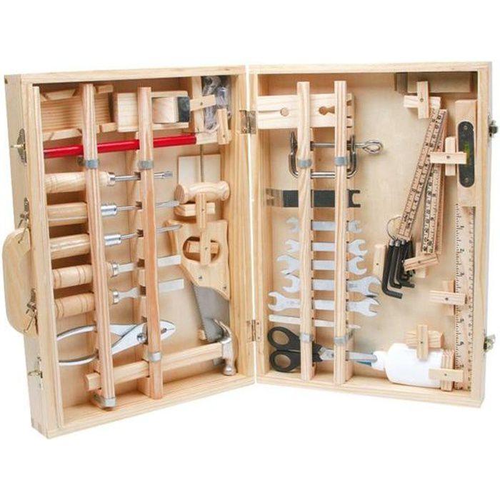 Boite a outils bois enfant achat vente jeux et jouets for Boite en bois a decorer pas cher