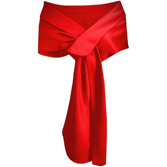 rouge echarpe ch le foulard etole satin pour femmes robes de c r monie soir e mariage mari e. Black Bedroom Furniture Sets. Home Design Ideas