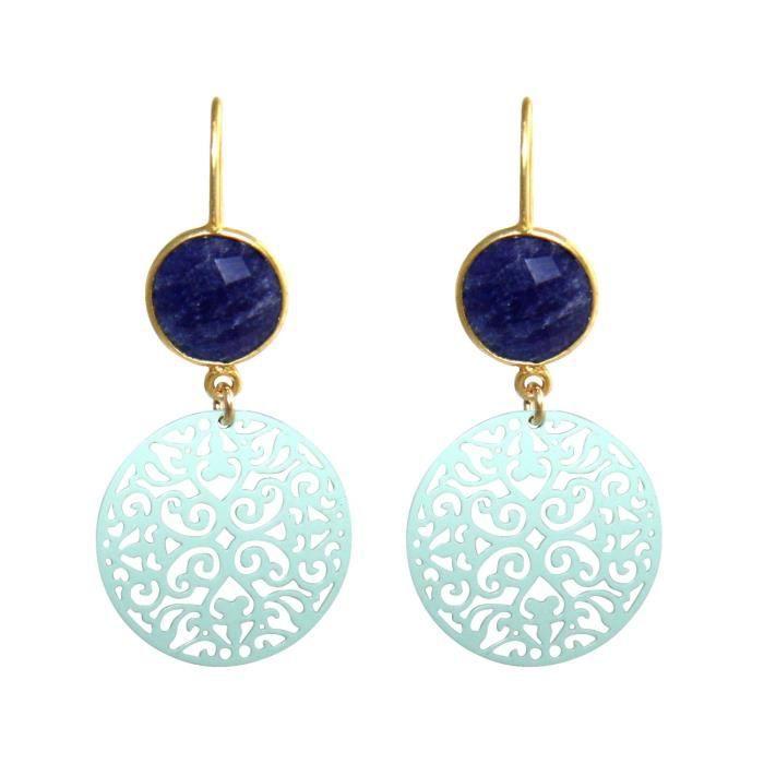 dames Gemshine boucles doreilles avec mandalas et saphirs bleus excellente qualité. Boucles doreilles à Madrid - Espagne. Dans le