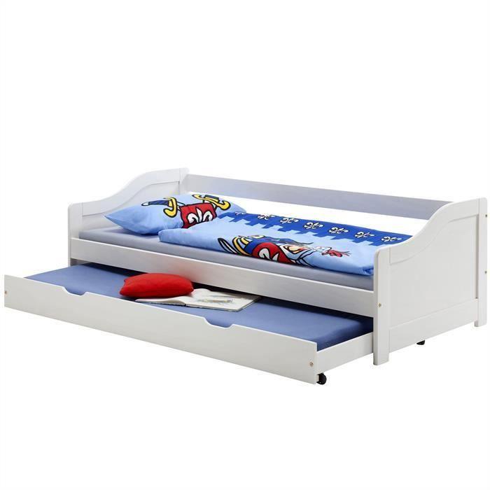 lit gigogne en pin 90 x 200 cm lasur 233 blanc