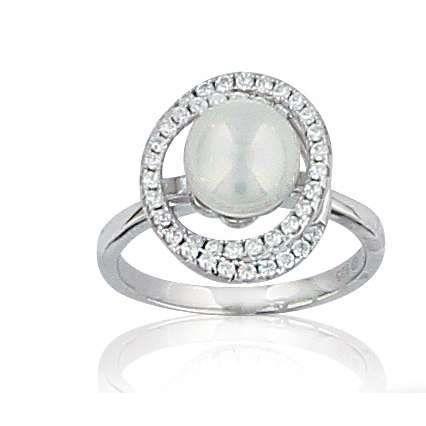 SF Bijoux - Bague argent 925-1000e, oxydes de Zirconium et perles dimitation blanches