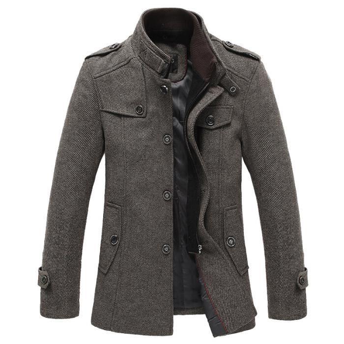 manteau laine homme gris fonc hiver marque pour hommes paissir veste slim fit hommes caf gris. Black Bedroom Furniture Sets. Home Design Ideas