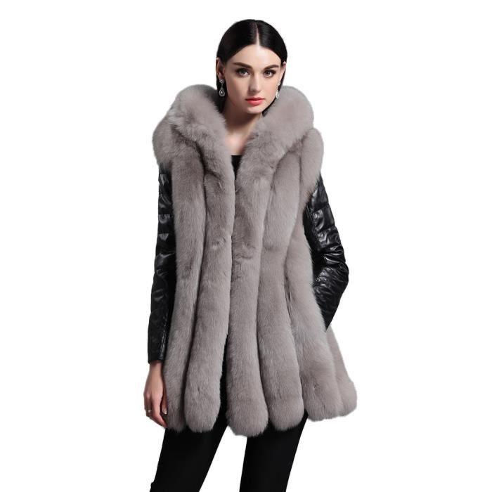 Manteau gris laine bouclee