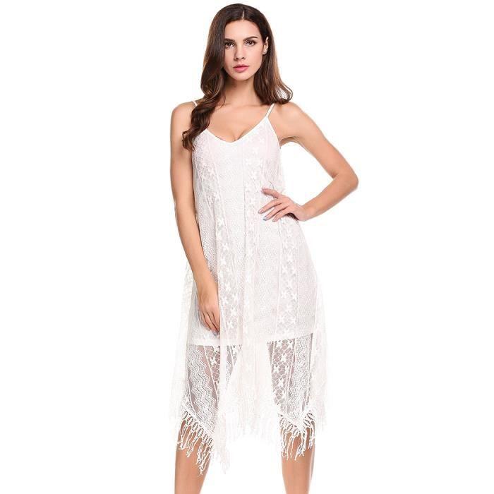 Robe Femmes asymétrique sans Casual manches en dentelle Florale col en V bretelles spaghetti