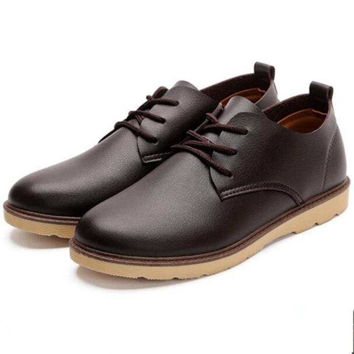 Chaussures Hommes Meilleure Qualité 2017 nouvelle marque de luxe Confortable Durable De Marque De Luxe Chaussures en cuir marron c6Oqop