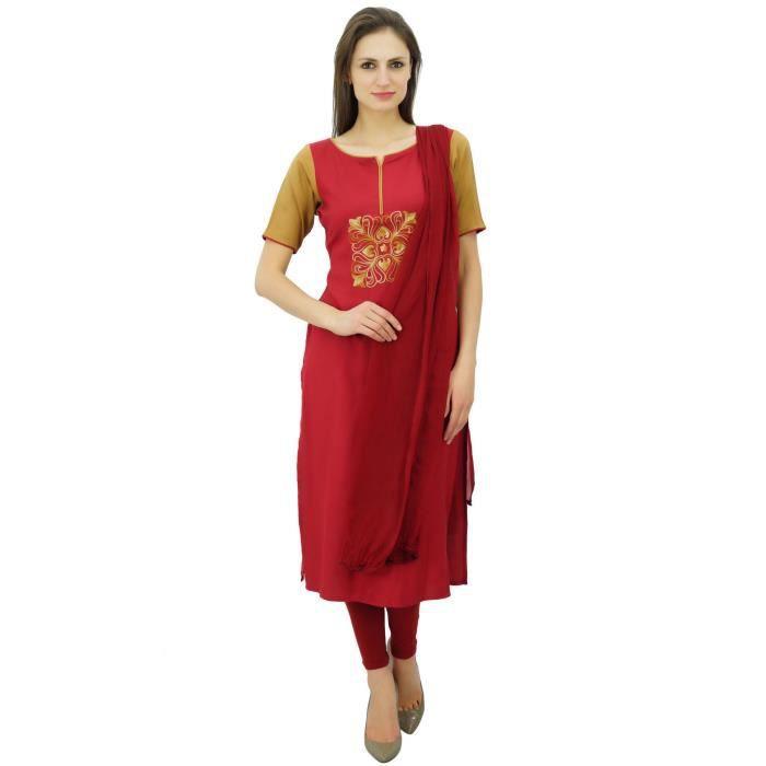 Avec Costume Bimba Rayonne Droit Indienne Dupatta Churidar Ethnique Casual Kameez Droite Femmes qFF6XRw