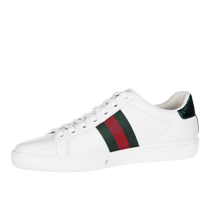 9633b70b6d6 Chaussures baskets sneakers femme en cuir ace Gucci Blanc Blanc ...