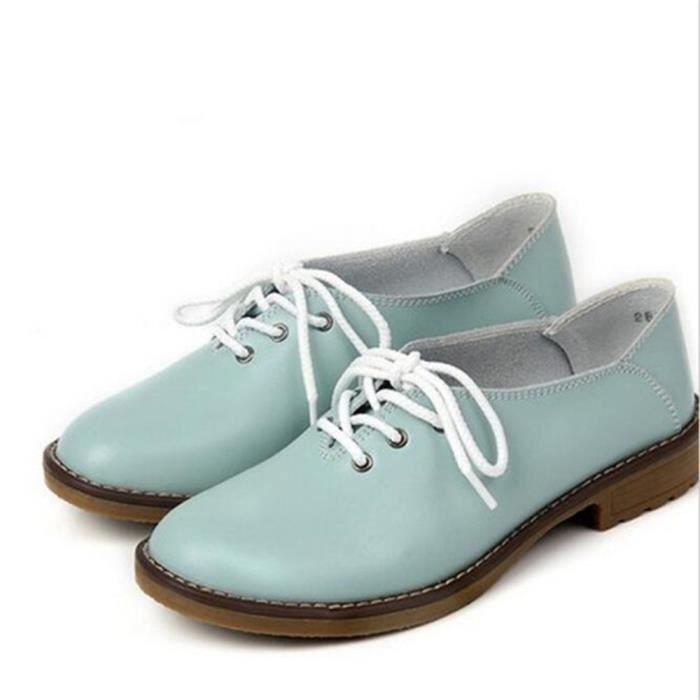 Femme Chaussures Nouvelle arrivee ete Haut qualité en cuir Poids Léger femmes plates Chaussure cuir Respirant Plus Taille 35-40 4l2ws