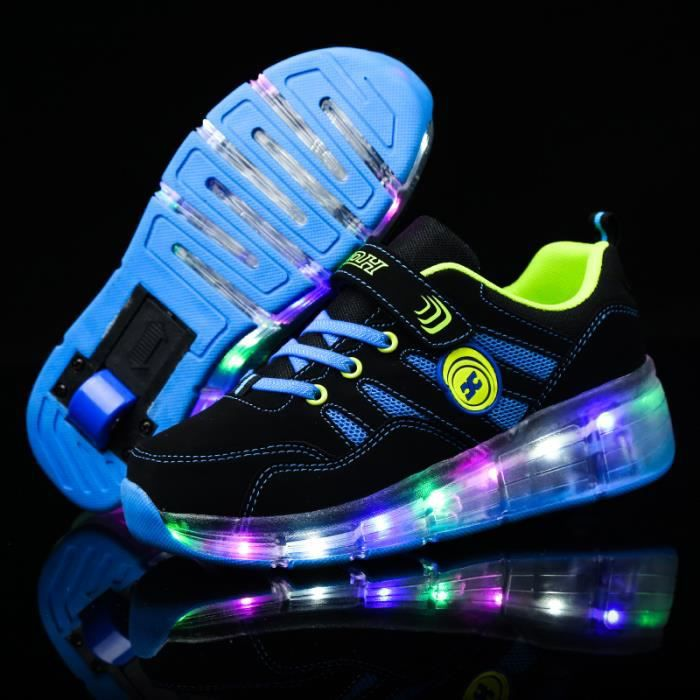 Enfants Roller Heelys Sneaker avec une roue LED lumineux clignotant patins enfants garçon fille chaussures Skateshoes - Bleu H8xWM5u6
