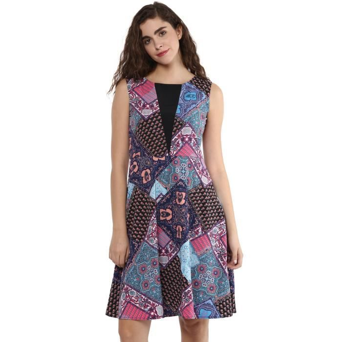 Womens Multicolor Printed Crepe A Line Dress TW5S1 Taille-36
