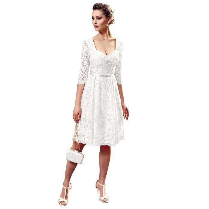 40066229d46 Point Mariage Robe de mariée Courte Femme AH18 Ivoire - Achat ...