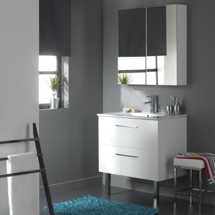 Meuble de salle de bain 80 cm 2 tiroirs blanc l achat - Vendeur de salle de bain ...