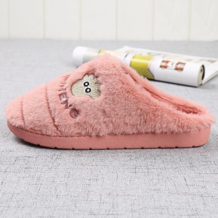 Dames pantoufles intérieur hiver mode plancher en maison de coton en velours pantoufles pieds au chaud dames pantoufles,rose