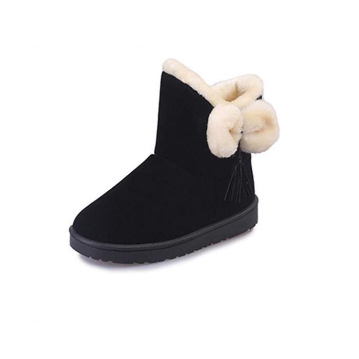 Automne D'hiver Chaud Lansman Femmes Snow bowknot Chaussures Boots Flats Em29277 1qZOC