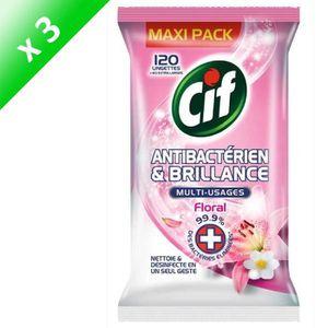 LINGETTE NETTOYANTE CIF Lot de 3 lingettes antibactérien & brillance -