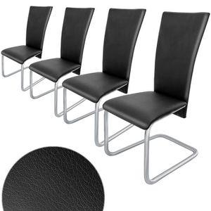 CHAISE Lot de 4 chaises cantilever en porte-à-faux Noir S