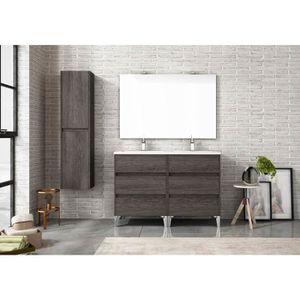 Meuble double vasque bois achat vente pas cher - Meuble salle de bain bois fonce ...