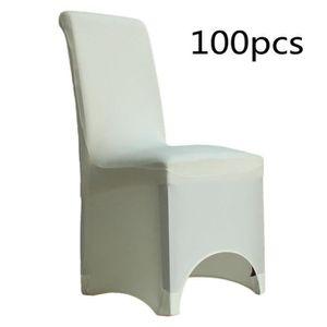 HOUSSE DE CHAISE 100pcs Housse De Chaise Blanc Spandex Lycra
