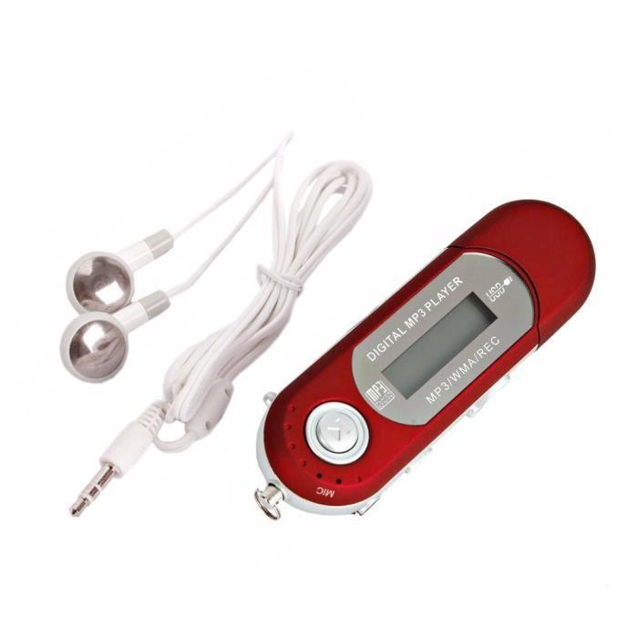 LECTEUR MP3 Baladeur Mp3 4GB USB 2.0 Rouge ecouteurs blancs Pa