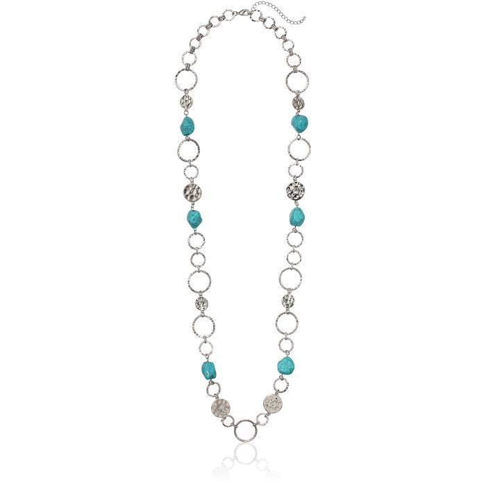 Fashion Mixed Link And Faux Turq Nugget Station Chain Necklace, 40 + 3 XLPBF