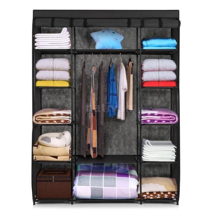 penderie meuble armoire rangement linge vetement hanging etagere chambre achat vente armoire. Black Bedroom Furniture Sets. Home Design Ideas
