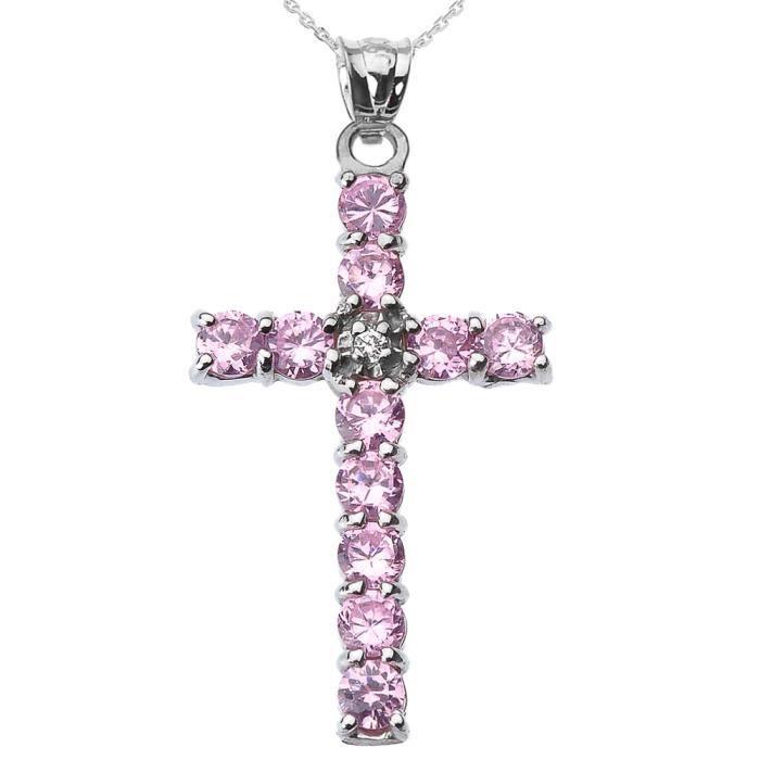 Collier Femme Pendentif 10 Ct Or Blanc Diamant et Rose Oxyde De Zirconium Croix (Livré avec une 45cm Chaîne)