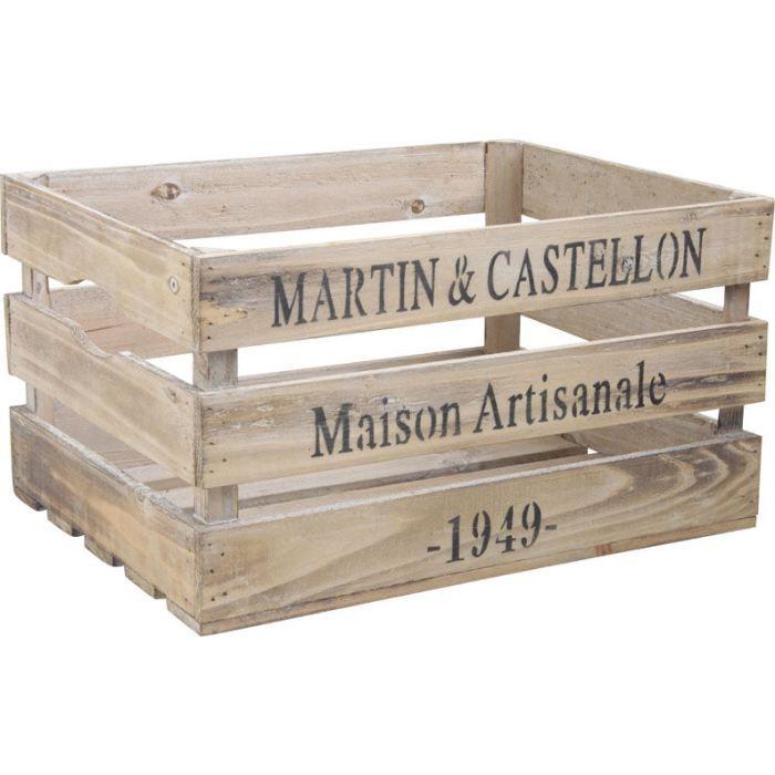 caisse en bois maison artisanale 40x30 5x22 5cm achat vente boite de rangement bois cdiscount. Black Bedroom Furniture Sets. Home Design Ideas